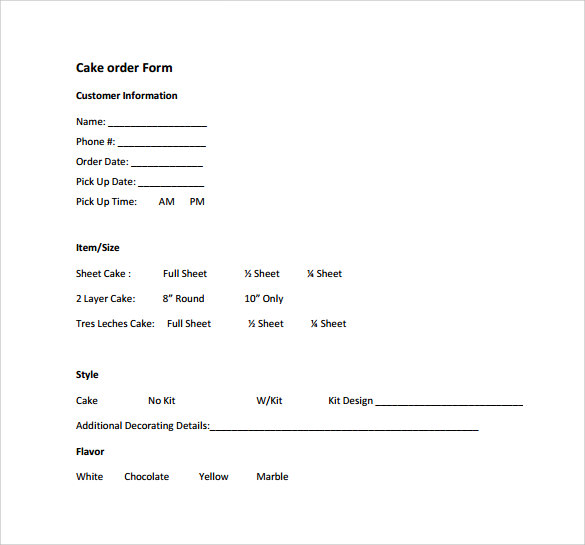 Sample Cake Order Form Template 13 Free Documents Download in – Order Form Template Free
