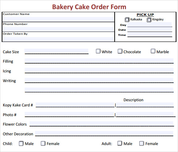 Sample Cake Order Form Template   Free Documents Download In