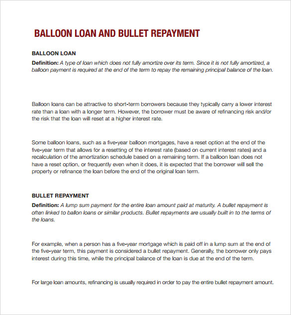 Sample Balloon Loan Calculator   Documents In Pdf