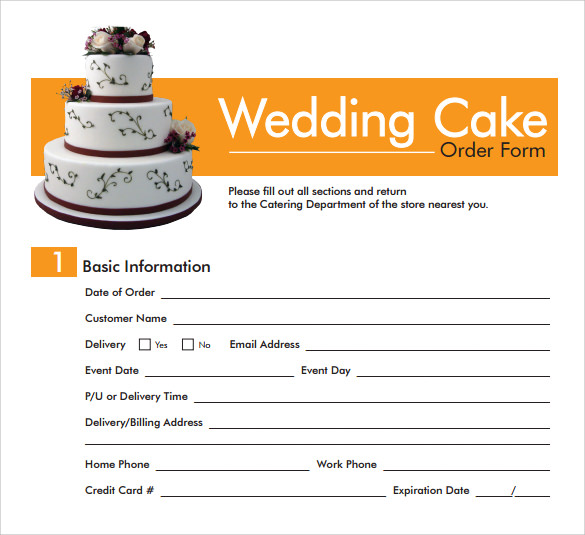 wedding cake order form template 16 cake order form templates sample templates 23353