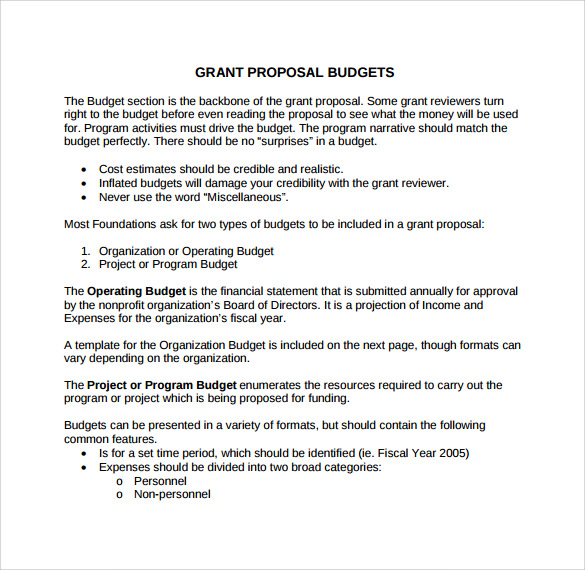 grant proposal budget template