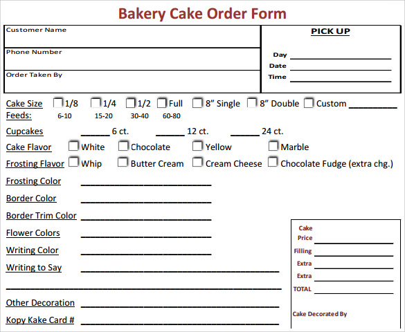 Sample Cake Order Form Template - 13+ Free Documents Download In