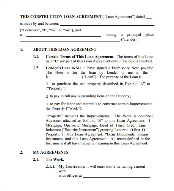 Sample Loan Contract Templates   Free Documents In Pdf  Word