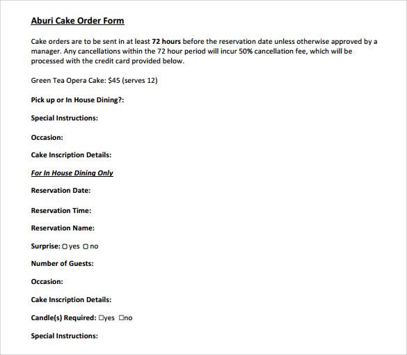 download cake order form template