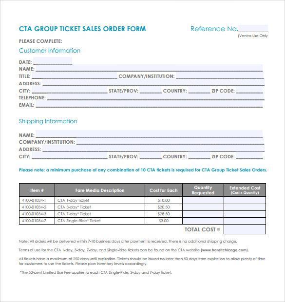 sample sale order template