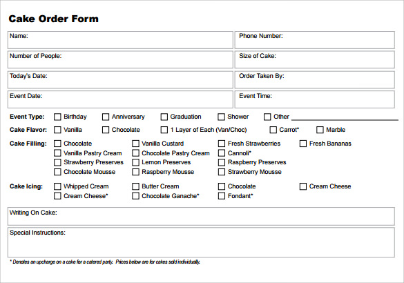Sample Cake Order Form Template 13 Free Documents Download in – Order Forms Templates Free