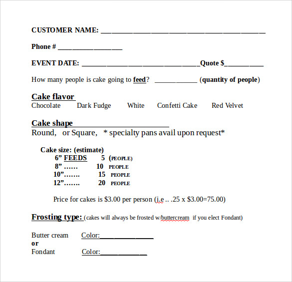 Word Download Cake Order Form Template