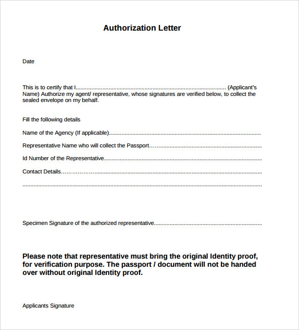 Sample Authorization Letter Free Example