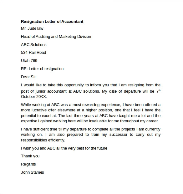 Resignation Letter of Accountant