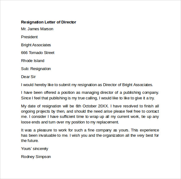 sample resignation letter example 10 free documents