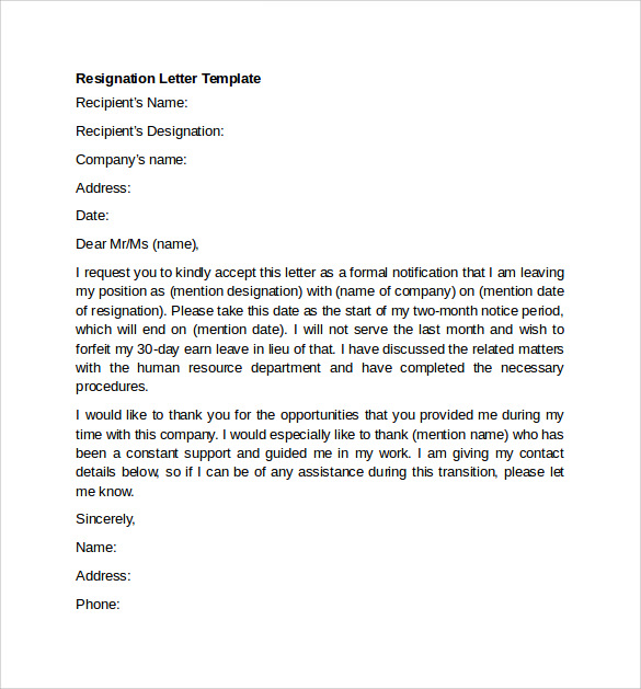 Resignation Letter Template  Letter Of Resignation Template Word Free