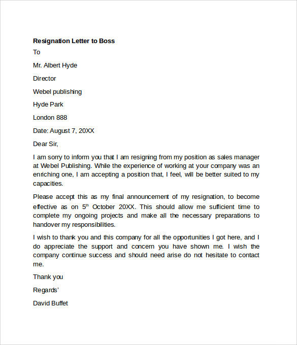 ... Resignation Letter Example - 10+ Free Documents Download in Word, PDF