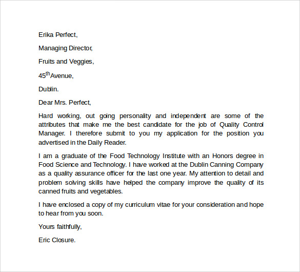 sample professional cover letter template
