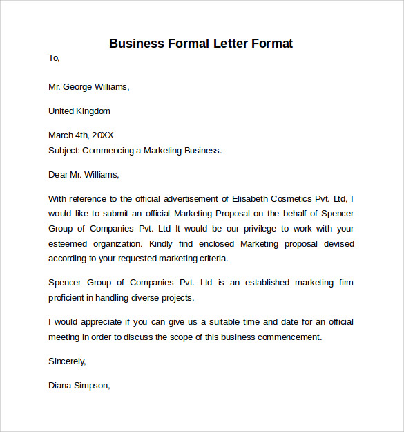 Business Formal Letter Example - Best Photos of Formal Business ...