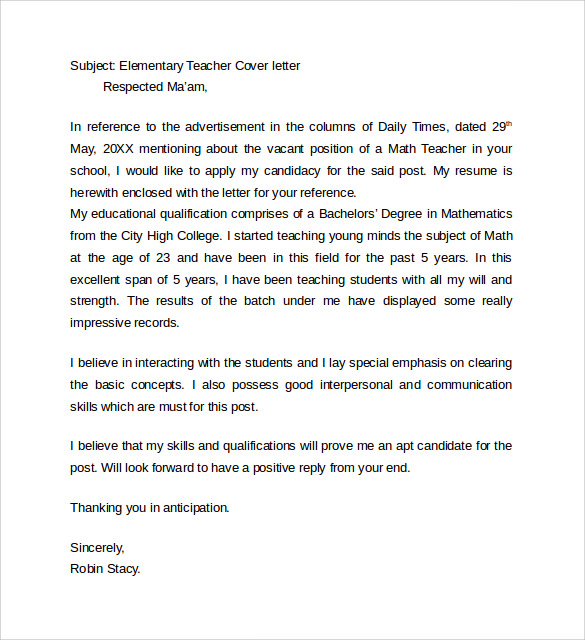 8 teacher cover letter templates  u2013 samples   examples