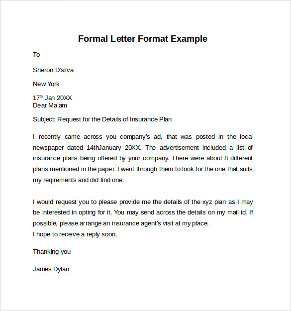 Example Of Formal Letter Cover Letter Templates
