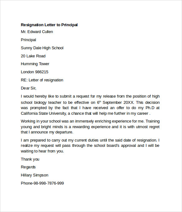 Letter To Principal Resignation Letter To Principal