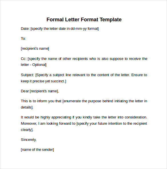 10 Formal Letter Formats Samples Examples Formats Sample