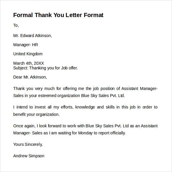 Formal Letter Format 9 Free Samples Examples Amp Formats