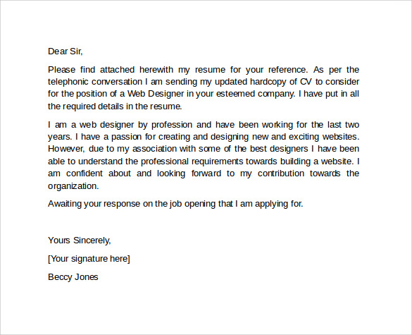 Sample Professional Cover Letter Template 10 Download