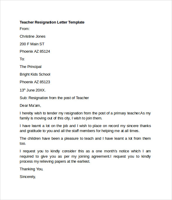 letter of resignation teacher sample resignation letter example 10 free documents 11173 | Teacher Resignation Letter Template