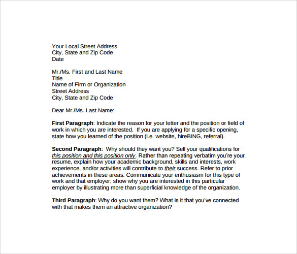 Sample Professional Cover Letter Template  Download Free