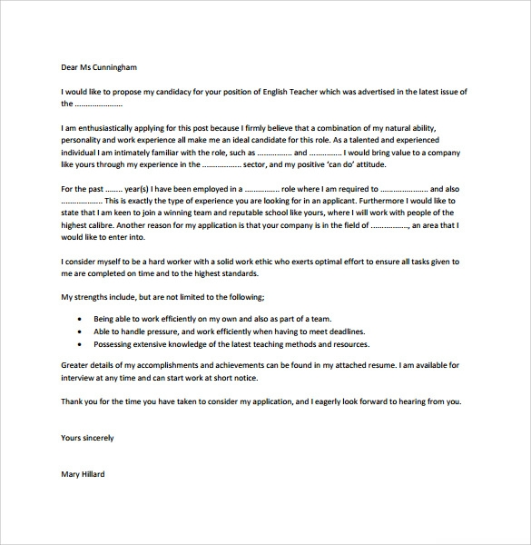 Teacher Cover Letter Template    Free Samples  Examples  Format