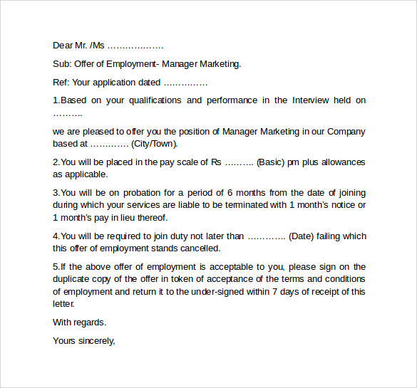 Offer Letter Template 11 Download Free Documents In PDF