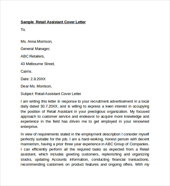 Sample Retail Cover Letter Template 9 Download Free Documents – Retail Cover Letter Template