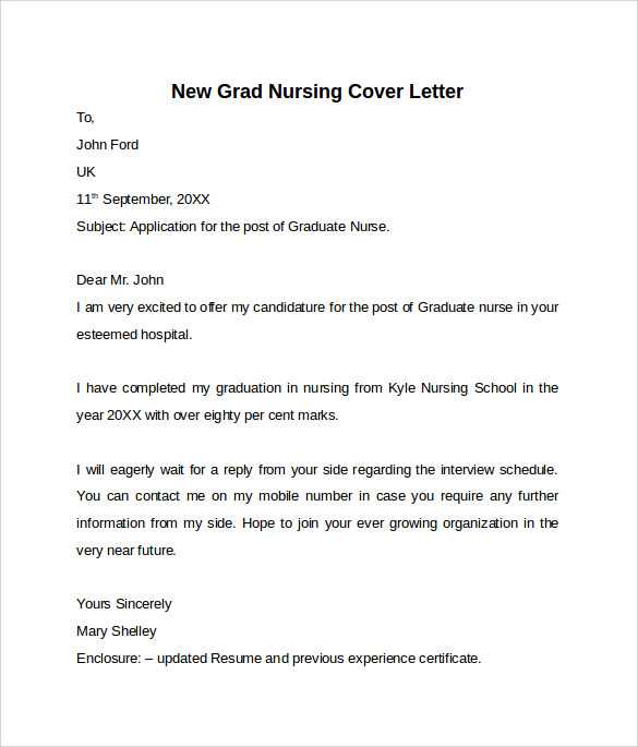 Nursing Cover Letter Samples Resume Genius. New Grad Nurse Cover