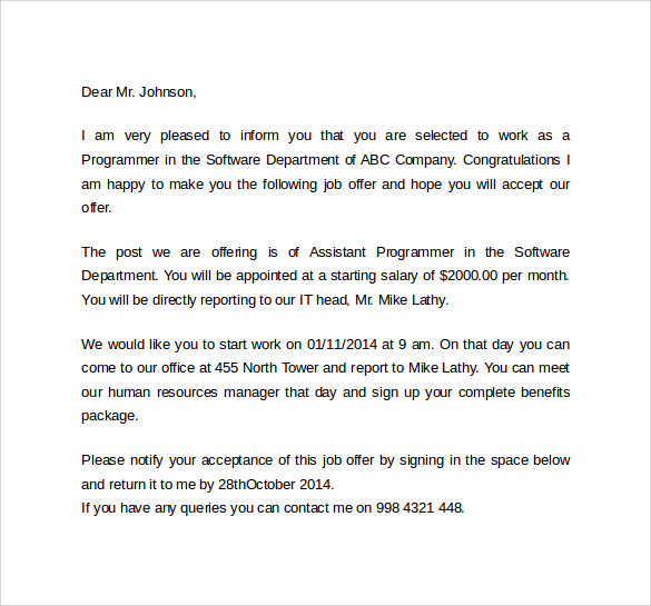 Sample Offer Letter Template 11 Download Free Documents