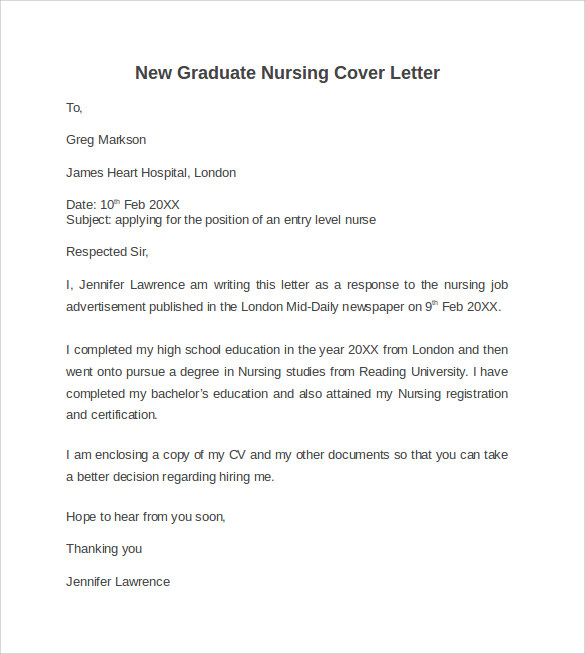 10 nursing cover letter template samples examples formats - Graduate Nurse Cover Letters