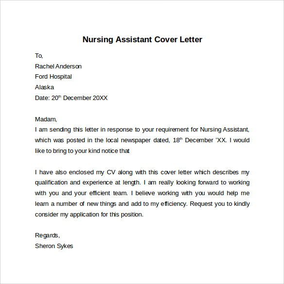 cover letter for nursing assistant with experience
