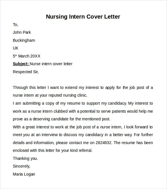 Nursing Cover Letter Template - 9+ Free Samples, Examples ...