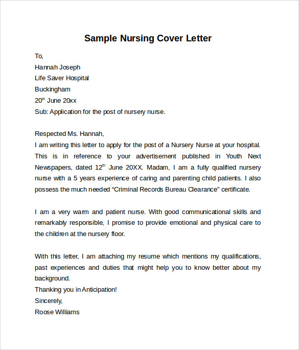 Nursing Graduate Cover Letter Example: 10 Nursing Cover Letter Template