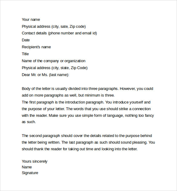 Professional Letter   Samples  Examples  Formats