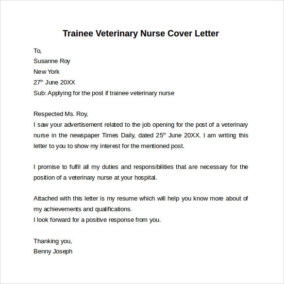 Pet Nurse Cover Letter