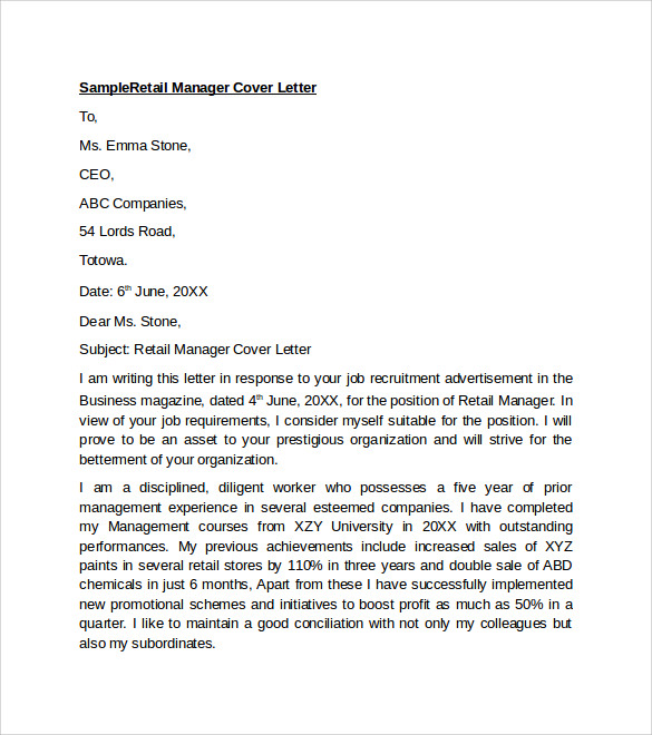 cover letter for retail manager This free sample cover letter for a retail (store manager) has an accompanying retail store manager sample resume.