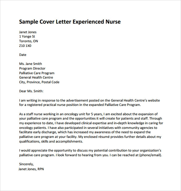 10 nursing cover letter template samples examples for Sample cover letter for lpn position