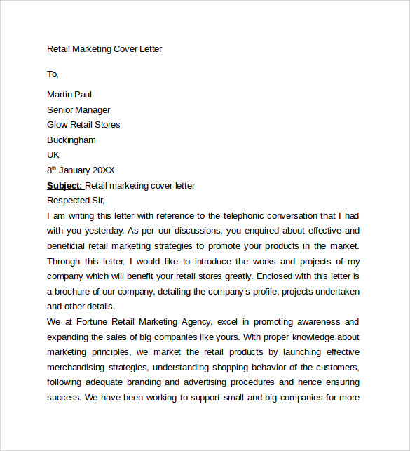 Sales Retail Cover Letter Sample Retail Cover Letter Templates