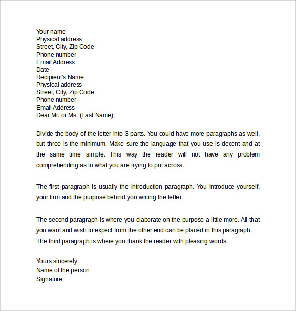 Professional Letter 12 Samples Examples Formats – Professional Thank You Letter