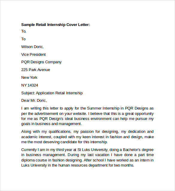 sample retail cover letter template
