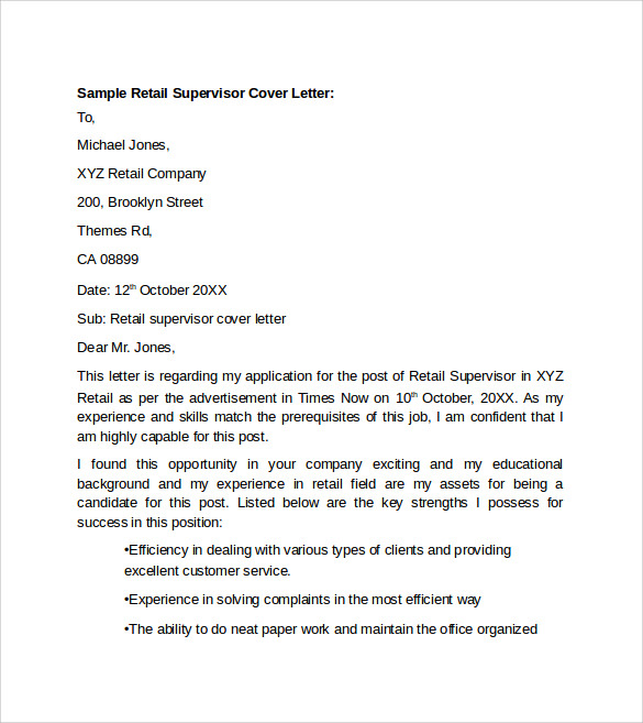 sample retail supervisor cover letter