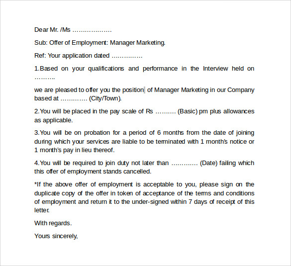 Sample Offer Letter Template  Download Free Documents In Pdf Word