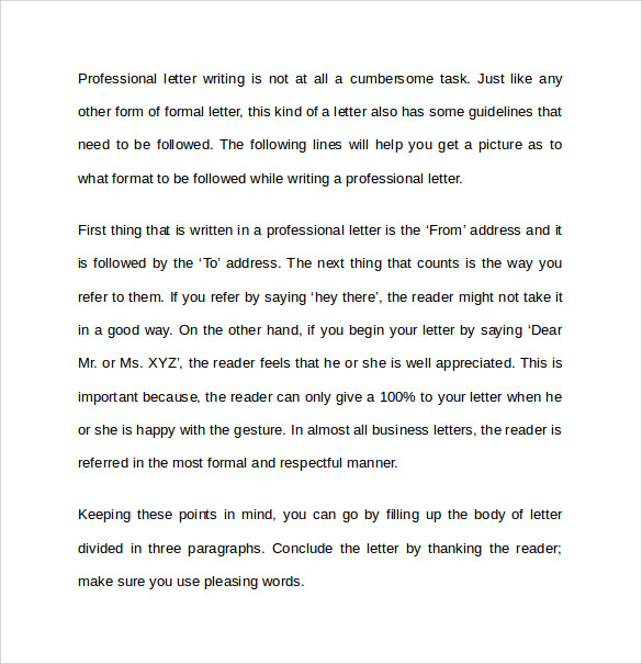 Professional letter writing