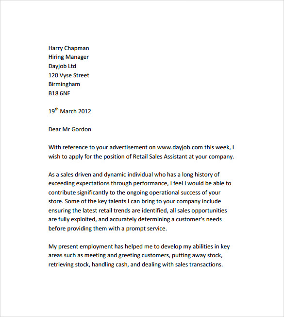 Sample Retail Cover Letter Template - 9+ Download Free ...