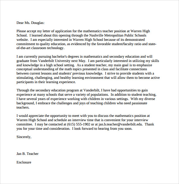 Teacher Cover Letter Template 7 Free Samples Examples Format – Sample High School Teacher Cover Letter