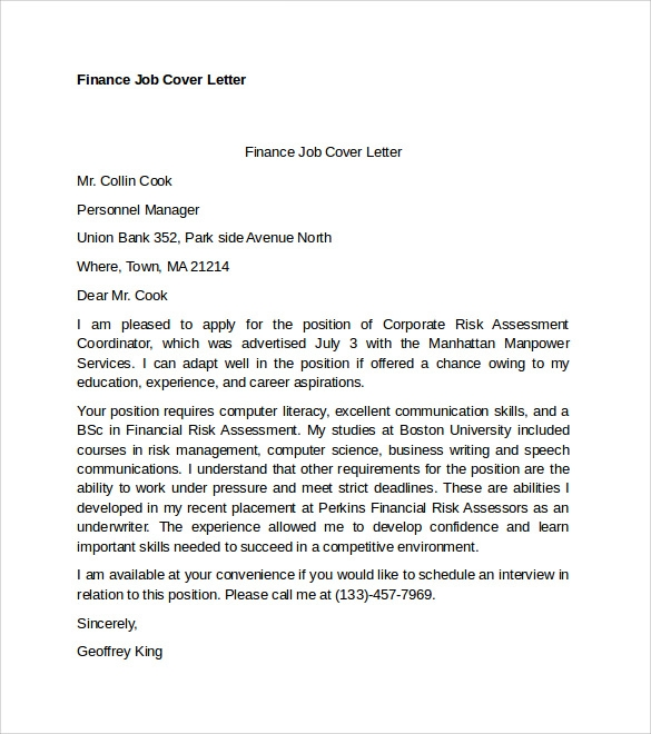 Fresh graduate cover letter finance