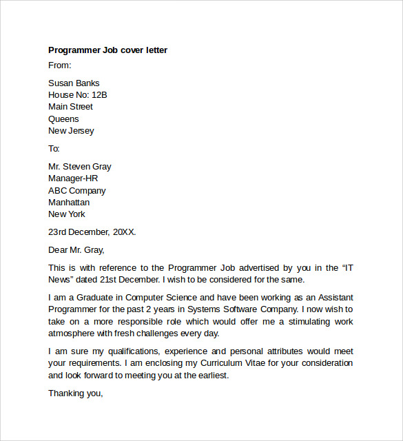 Software programmer cover letter for Cover letter for internship in software company