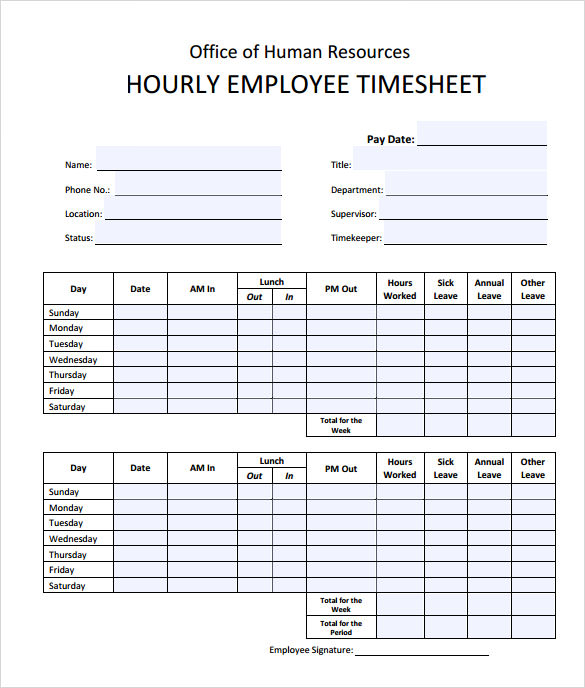 free timesheet calculator template printable